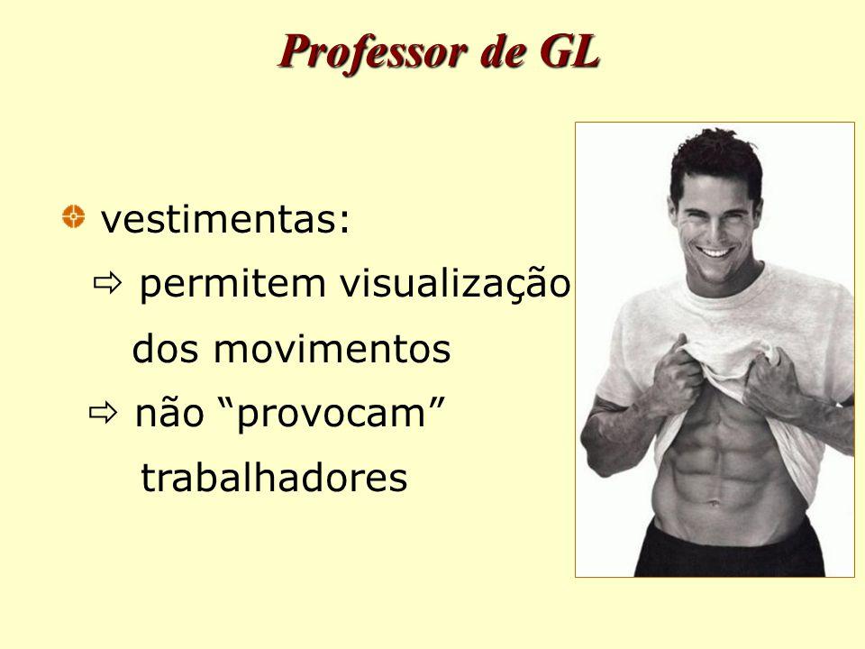 vestimentas:  permitem visualização dos movimentos  não provocam trabalhadores Professor de GL