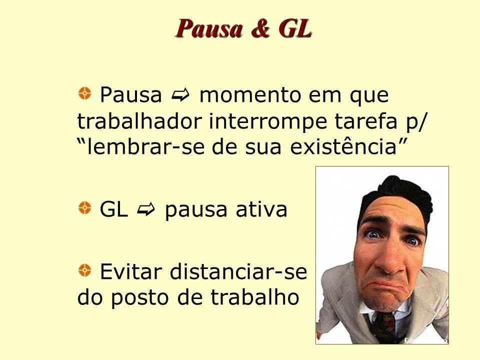 Pausa & GL Pausa  momento em que trabalhador interrompe tarefa p/ lembrar-se de sua existência GL  pausa ativa Evitar distanciar-se do posto de trabalho