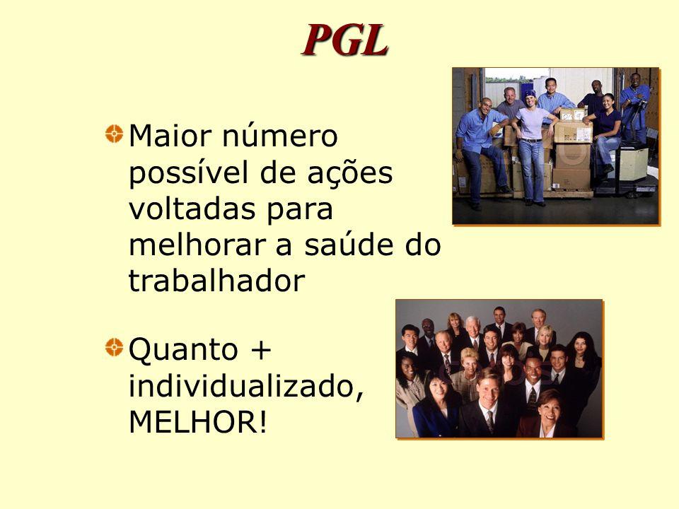 Maior número possível de ações voltadas para melhorar a saúde do trabalhador Quanto + individualizado, MELHOR.