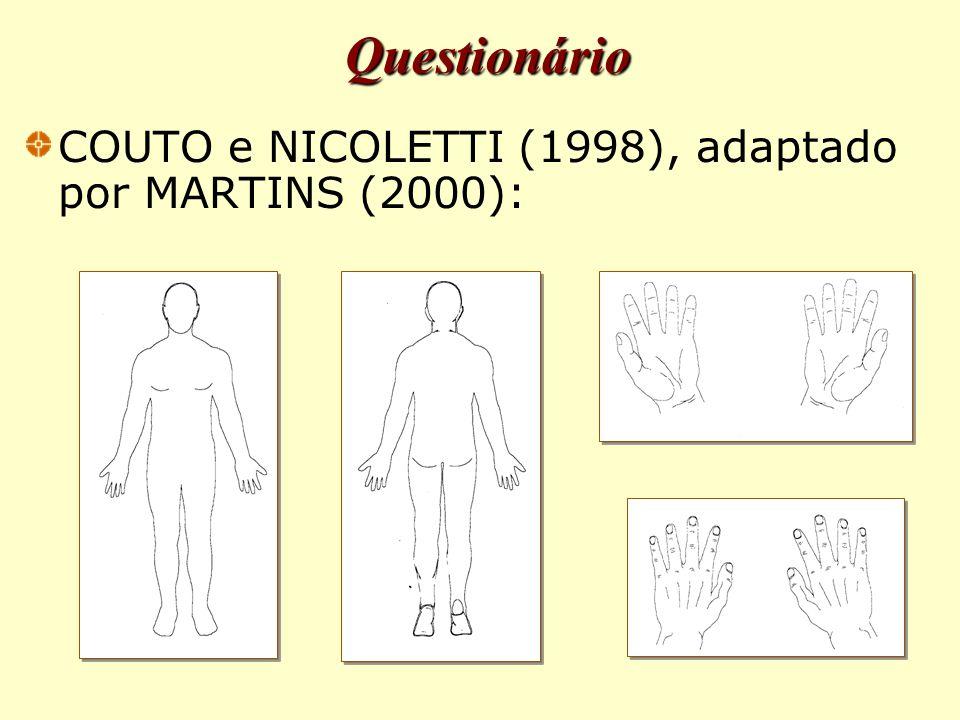 COUTO e NICOLETTI (1998), adaptado por MARTINS (2000): Questionário