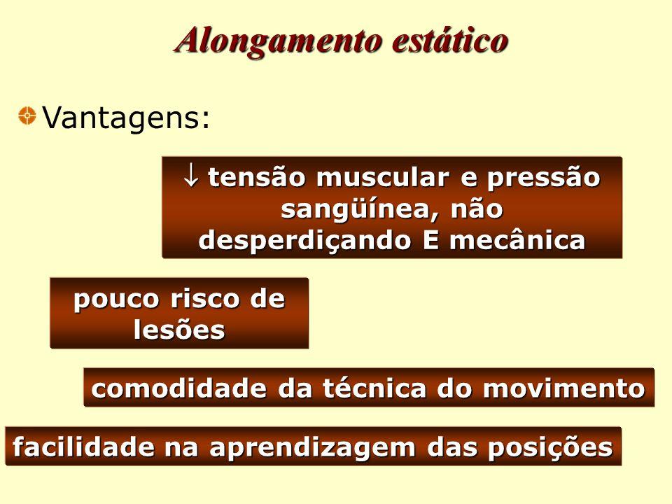 pouco risco de lesões comodidade da técnica do movimento facilidade na aprendizagem das posições  tensão muscular e pressão sangüínea, não desperdiçando E mecânica Alongamento estático Vantagens: