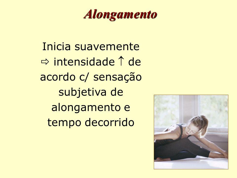 Inicia suavemente  intensidade  de acordo c/ sensação subjetiva de alongamento e tempo decorrido Alongamento