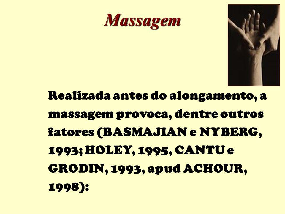 Realizada antes do alongamento, a massagem provoca, dentre outros fatores (BASMAJIAN e NYBERG, 1993; HOLEY, 1995, CANTU e GRODIN, 1993, apud ACHOUR, 1998): Massagem