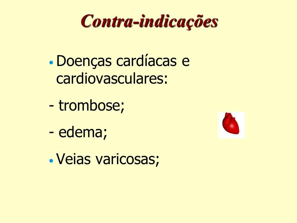 Doenças cardíacas e cardiovasculares: - trombose; - edema; Veias varicosas; Contra-indicações