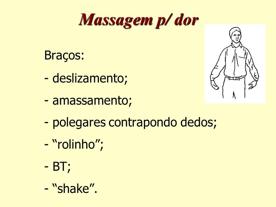 Braços: - deslizamento; - amassamento; - polegares contrapondo dedos; - rolinho ; - BT; - shake .
