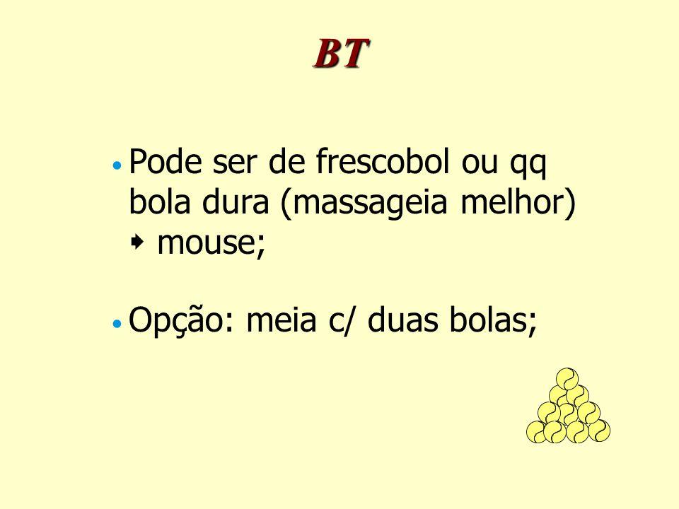 Pode ser de frescobol ou qq bola dura (massageia melhor)  mouse; Opção: meia c/ duas bolas; BT