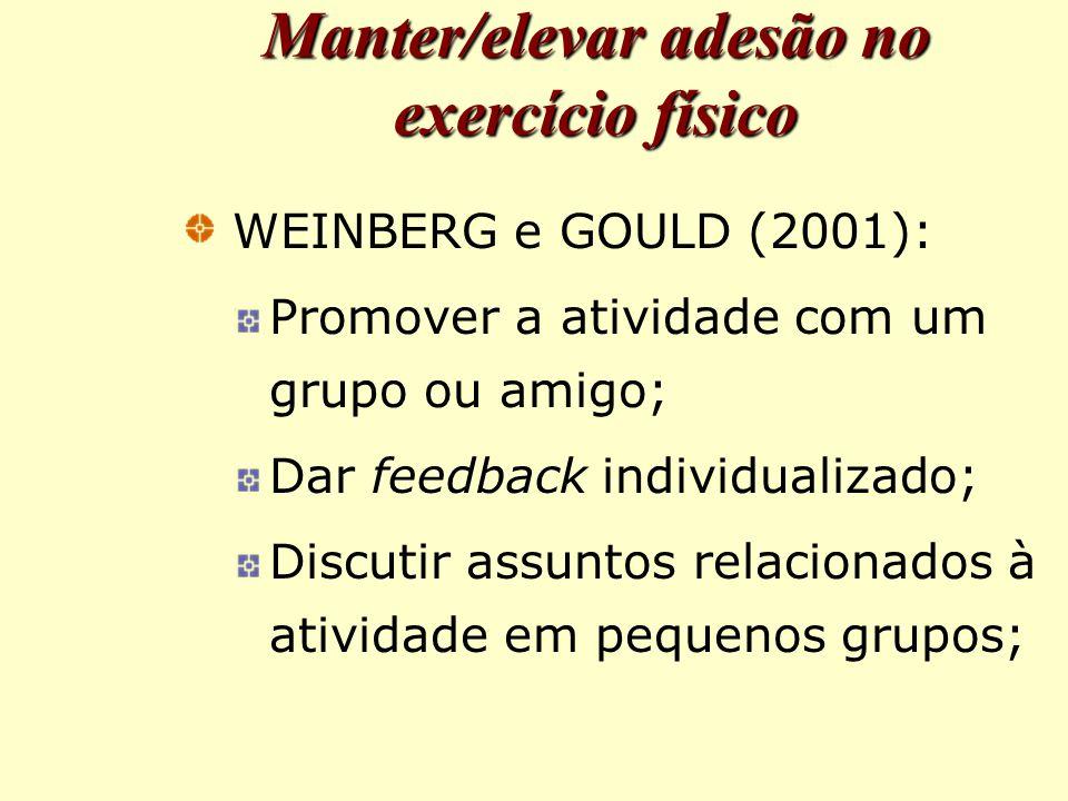 Manter/elevar adesão no exercício físico WEINBERG e GOULD (2001): Promover a atividade com um grupo ou amigo; Dar feedback individualizado; Discutir assuntos relacionados à atividade em pequenos grupos;