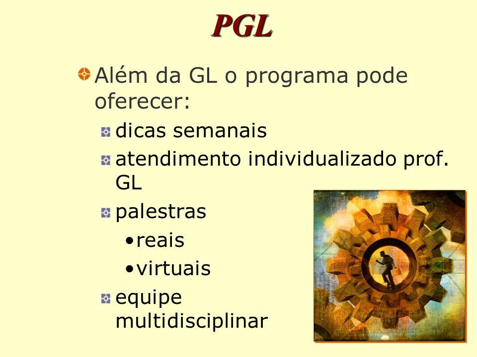 PGL Além da GL o programa pode oferecer: dicas semanais atendimento individualizado prof.