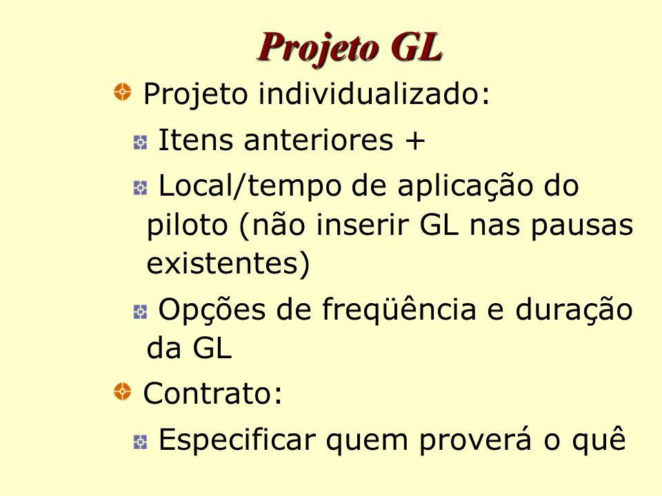 Projeto GL Projeto individualizado: Itens anteriores + Local/tempo de aplicação do piloto (não inserir GL nas pausas existentes) Opções de freqüência e duração da GL Contrato: Especificar quem proverá o quê