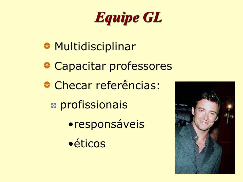 Equipe GL Multidisciplinar Capacitar professores Checar referências: profissionais responsáveis éticos