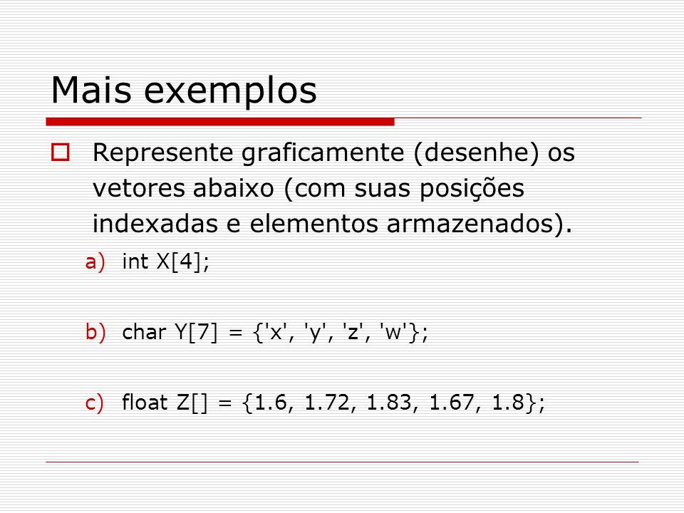 Mais exemplos  Represente graficamente (desenhe) os vetores abaixo (com suas posições indexadas e elementos armazenados). a)int X[4]; b)char Y[7] = {