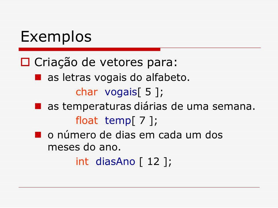 Exemplos  Criação de vetores para: as letras vogais do alfabeto. char vogais[ 5 ]; as temperaturas diárias de uma semana. float temp[ 7 ]; o número d