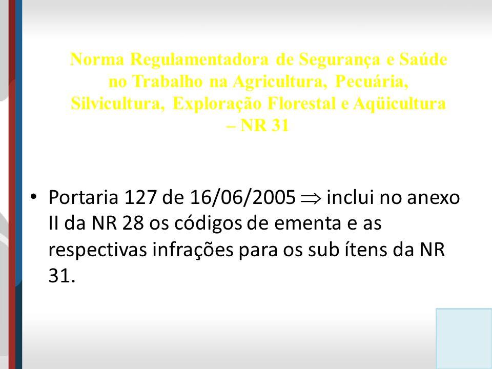 Portaria 127 de 16/06/2005  inclui no anexo II da NR 28 os códigos de ementa e as respectivas infrações para os sub ítens da NR 31.
