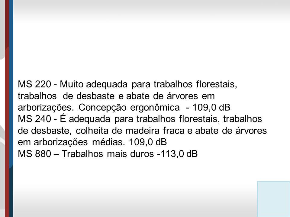 MS 220 - Muito adequada para trabalhos florestais, trabalhos de desbaste e abate de árvores em arborizações.