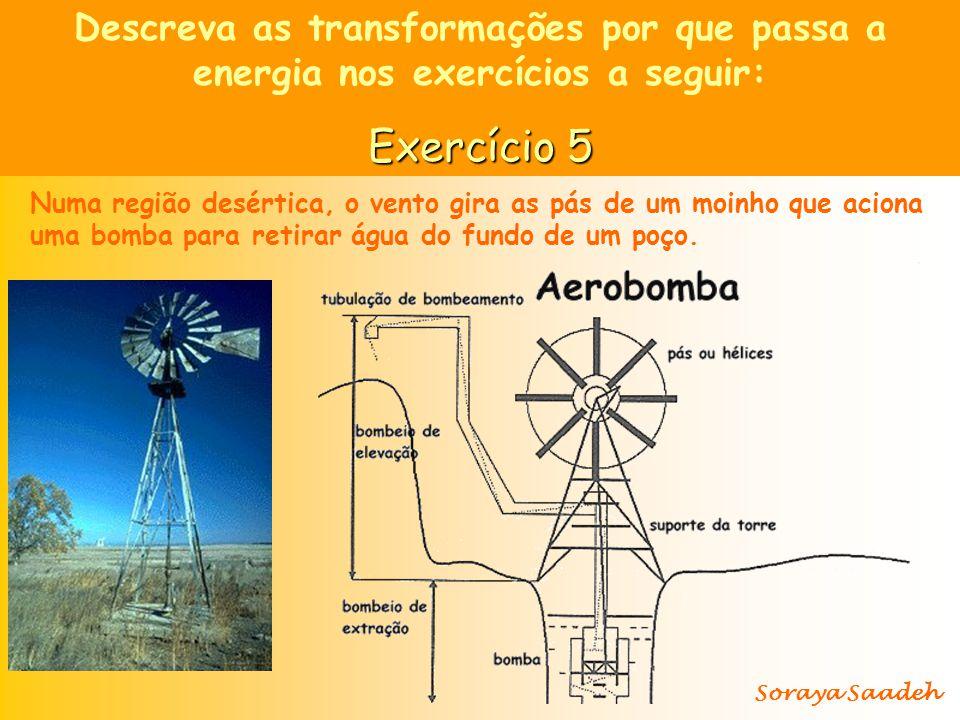 Descreva as transformações por que passa a energia nos exercícios a seguir: Exercício 5 Numa região desértica, o vento gira as pás de um moinho que ac