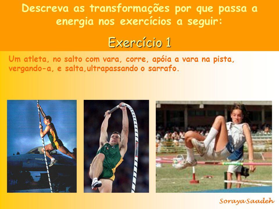 Um atleta, no salto com vara, corre, apóia a vara na pista, vergando-a, e salta,ultrapassando o sarrafo.