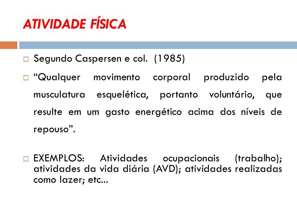ATIVIDADE FÍSICA  Segundo Caspersen e col.