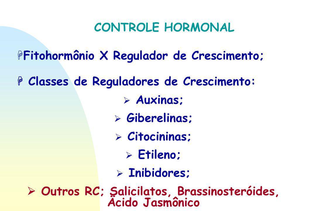 CONTROLE HORMONAL HFitohormônio X Regulador de Crescimento;  Classes de Reguladores de Crescimento:  Auxinas;  Giberelinas;  Citocininas;  Etilen