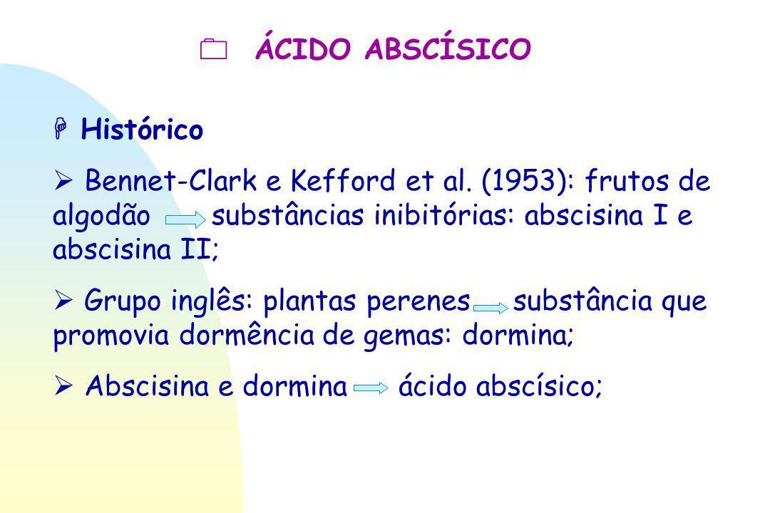  ÁCIDO ABSCÍSICO  Histórico  Bennet-Clark e Kefford et al. (1953): frutos de algodão substâncias inibitórias: abscisina I e abscisina II;  Grupo i