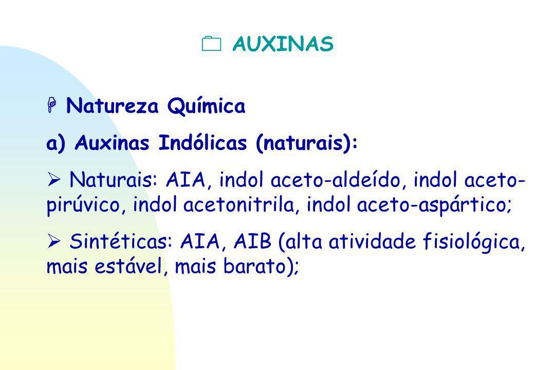  AUXINAS  Natureza Química a) Auxinas Indólicas (naturais):  Naturais: AIA, indol aceto-aldeído, indol aceto- pirúvico, indol acetonitrila, indol a