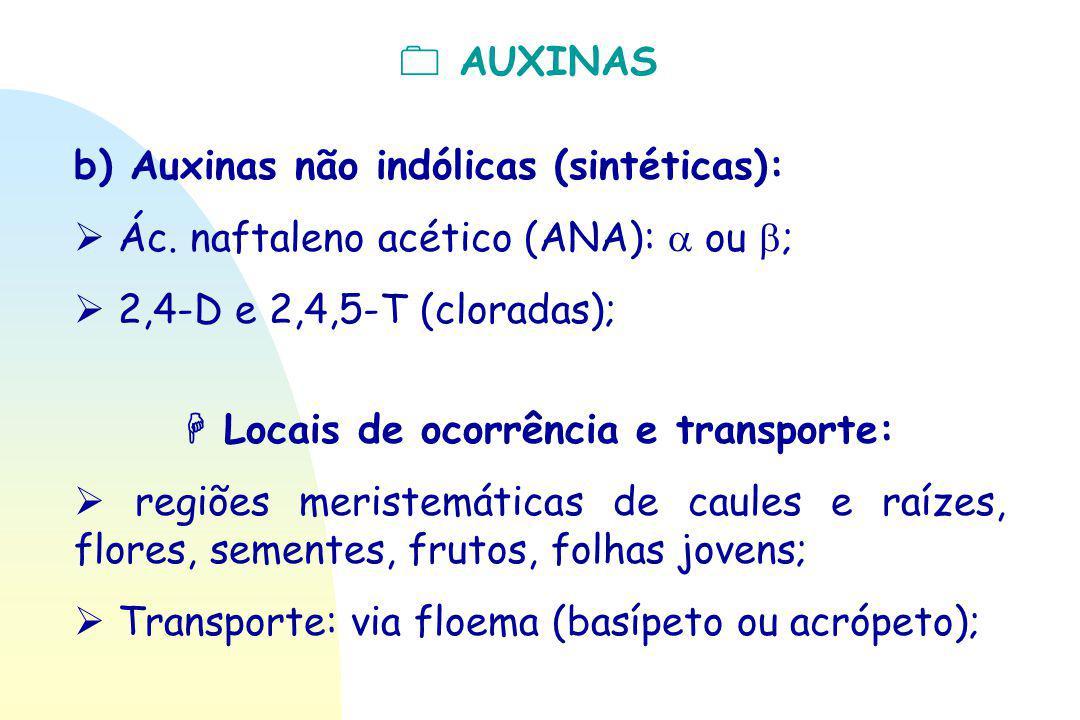  AUXINAS b) Auxinas não indólicas (sintéticas):  Ác. naftaleno acético (ANA):  ou  ;  2,4-D e 2,4,5-T (cloradas);  Locais de ocorrência e transp