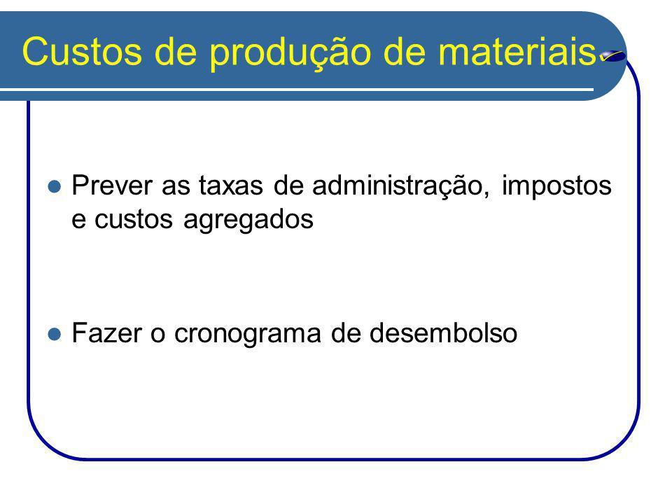 Custos de produção de materiais Prever as taxas de administração, impostos e custos agregados Fazer o cronograma de desembolso
