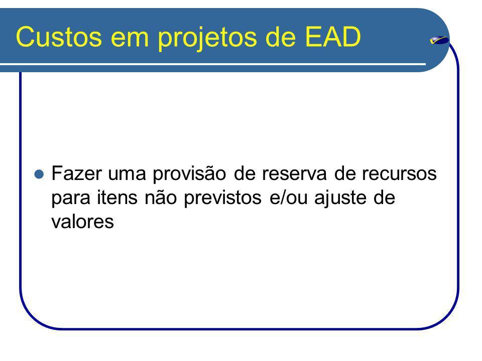 Custos em projetos de EAD Fazer uma provisão de reserva de recursos para itens não previstos e/ou ajuste de valores