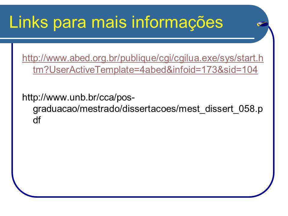 Links para mais informações http://www.abed.org.br/publique/cgi/cgilua.exe/sys/start.h tm?UserActiveTemplate=4abed&infoid=173&sid=104 http://www.unb.br/cca/pos- graduacao/mestrado/dissertacoes/mest_dissert_058.p df