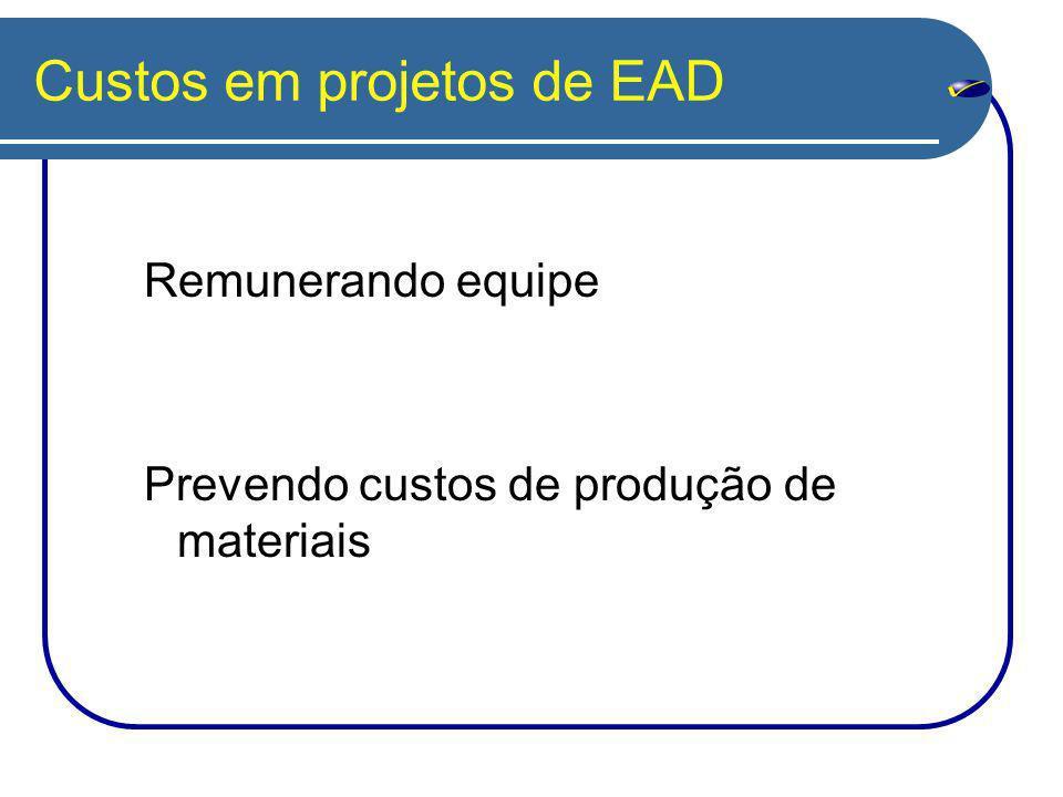 Custos em projetos de EAD Remunerando equipe Prevendo custos de produção de materiais