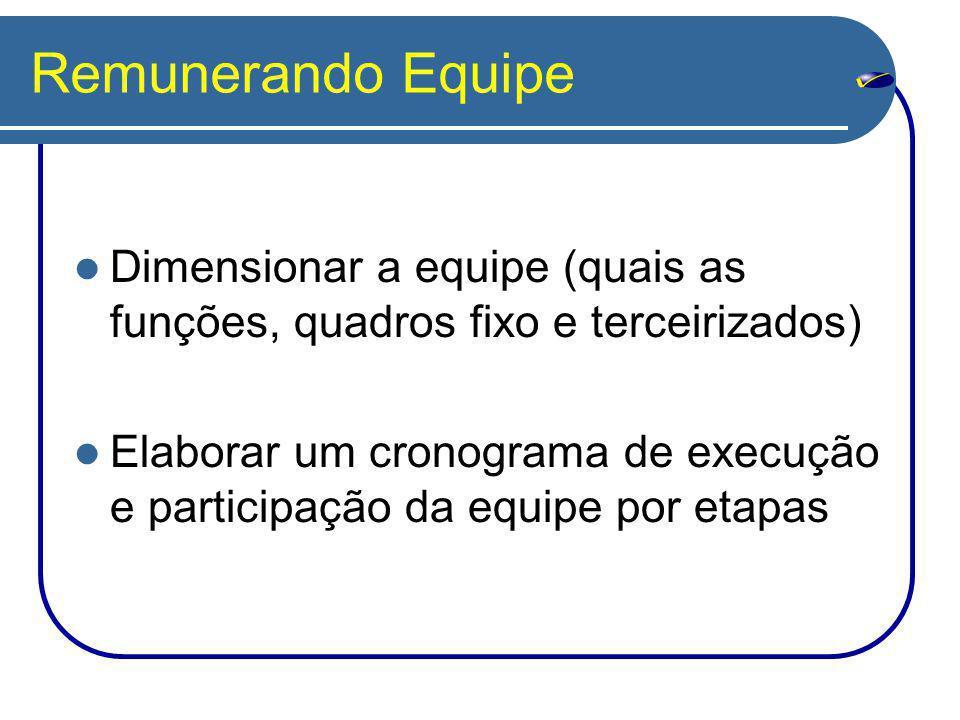Remunerando Equipe Dimensionar a equipe (quais as funções, quadros fixo e terceirizados) Elaborar um cronograma de execução e participação da equipe p
