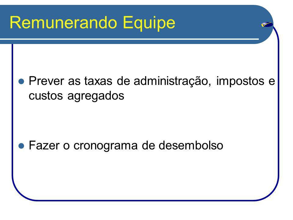 Remunerando Equipe Prever as taxas de administração, impostos e custos agregados Fazer o cronograma de desembolso