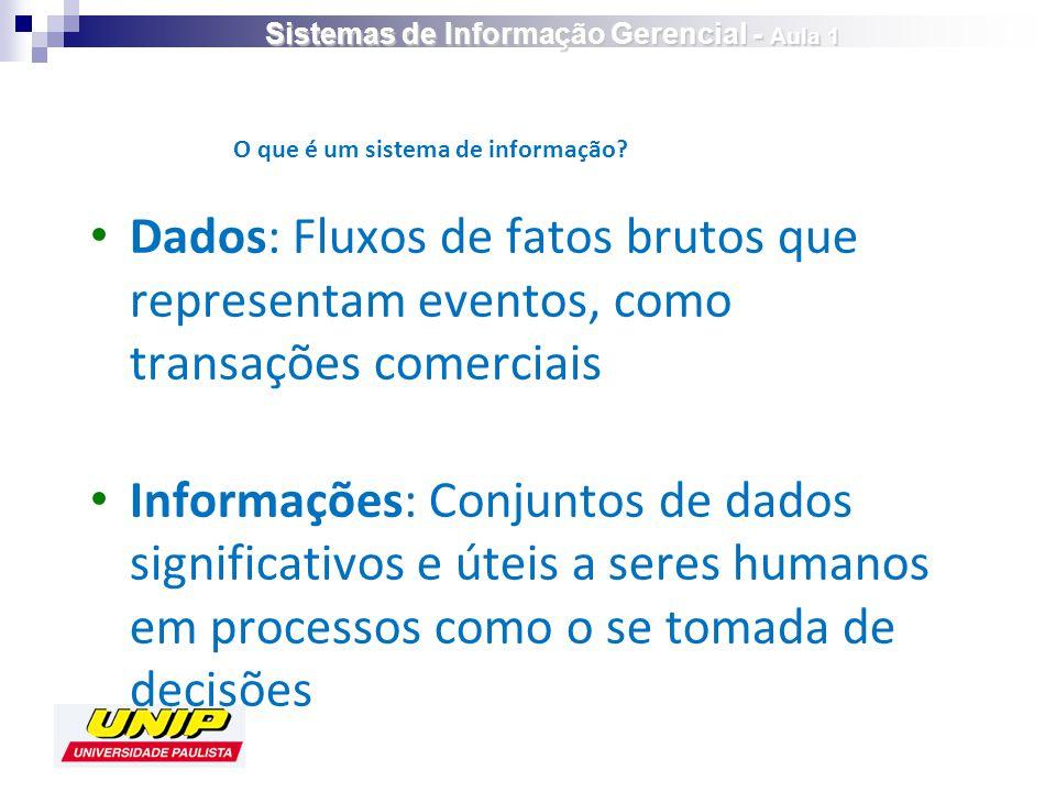 Dados: Fluxos de fatos brutos que representam eventos, como transações comerciais Informações: Conjuntos de dados significativos e úteis a seres humanos em processos como o se tomada de decisões O que é um sistema de informação.