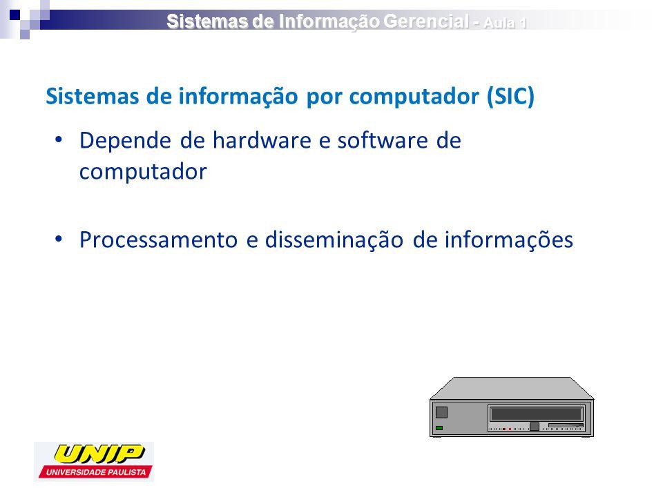 Depende de hardware e software de computador Processamento e disseminação de informações Sistemas de informação por computador (SIC) Sistemas de Informação Gerencial - Aula 1