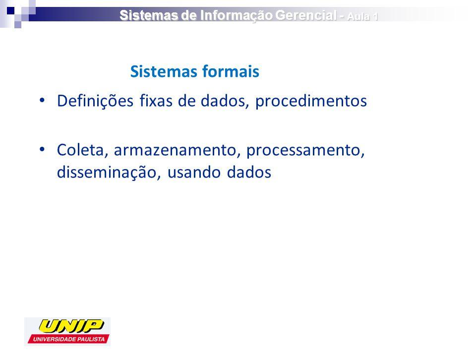 Definições fixas de dados, procedimentos Coleta, armazenamento, processamento, disseminação, usando dados Sistemas formais Sistemas de Informação Gerencial - Aula 1