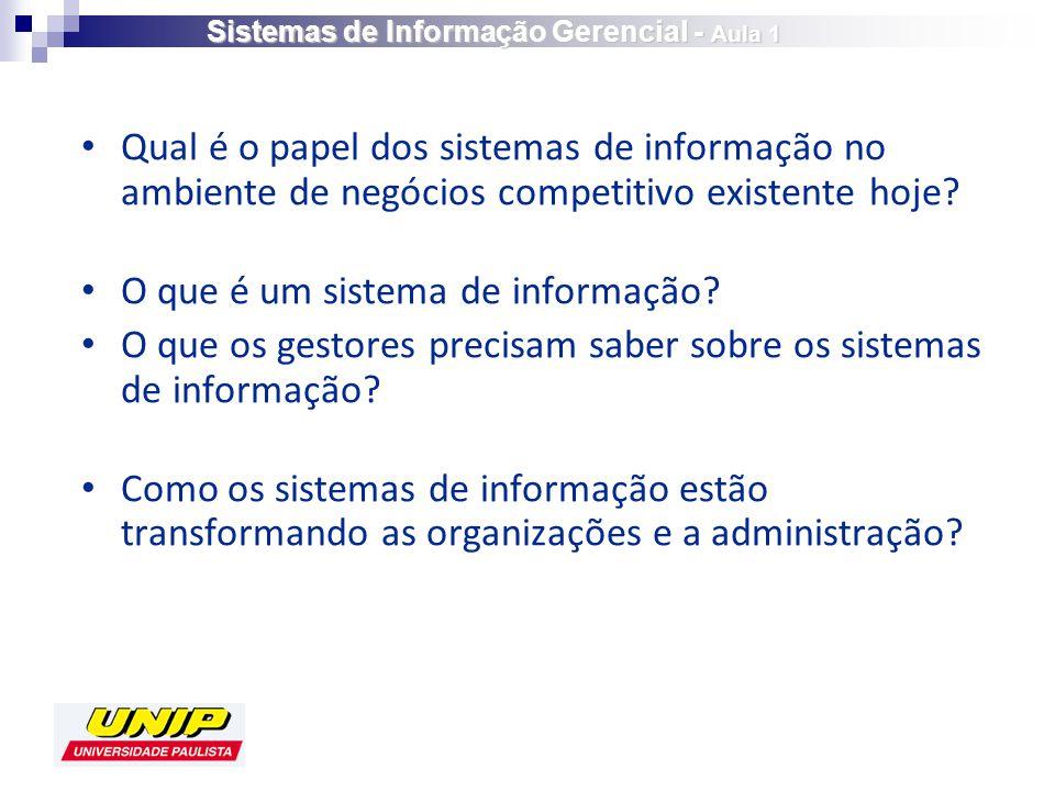 Qual é o papel dos sistemas de informação no ambiente de negócios competitivo existente hoje.