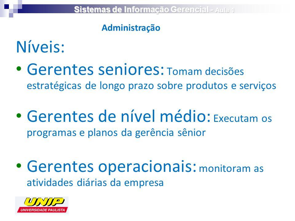Níveis: Gerentes seniores: Tomam decisões estratégicas de longo prazo sobre produtos e serviços Gerentes de nível médio: Executam os programas e plano