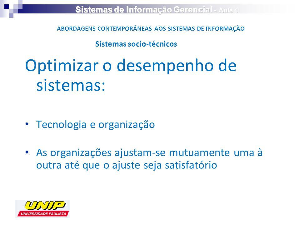 Optimizar o desempenho de sistemas: Tecnologia e organização As organizações ajustam-se mutuamente uma à outra até que o ajuste seja satisfatório Sistemas socio-técnicos ABORDAGENS CONTEMPORÂNEAS AOS SISTEMAS DE INFORMAÇÃO Sistemas de Informação Gerencial - Aula 1
