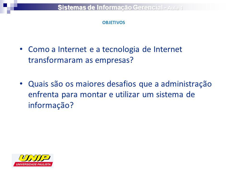 Como a Internet e a tecnologia de Internet transformaram as empresas? Quais são os maiores desafios que a administração enfrenta para montar e utiliza