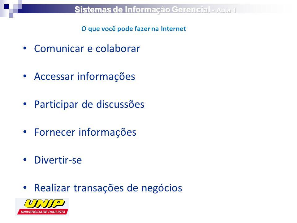 Comunicar e colaborar Accessar informações Participar de discussões Fornecer informações Divertir-se Realizar transações de negócios O que você pode fazer na Internet Sistemas de Informação Gerencial - Aula 1