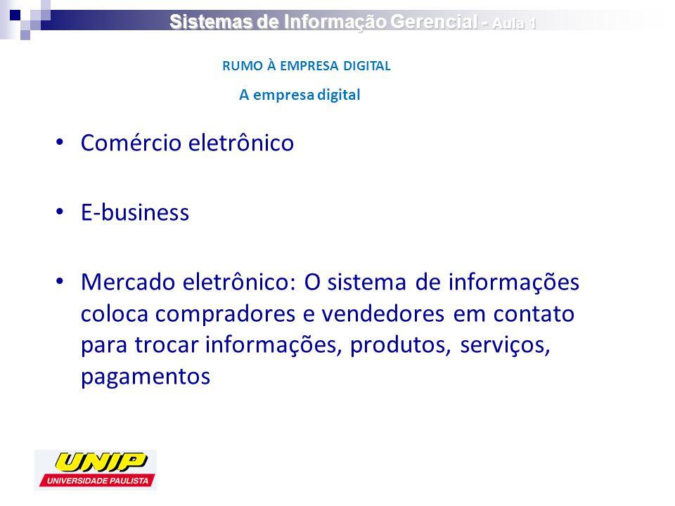 Comércio eletrônico E-business Mercado eletrônico: O sistema de informações coloca compradores e vendedores em contato para trocar informações, produtos, serviços, pagamentos A empresa digital RUMO À EMPRESA DIGITAL Sistemas de Informação Gerencial - Aula 1