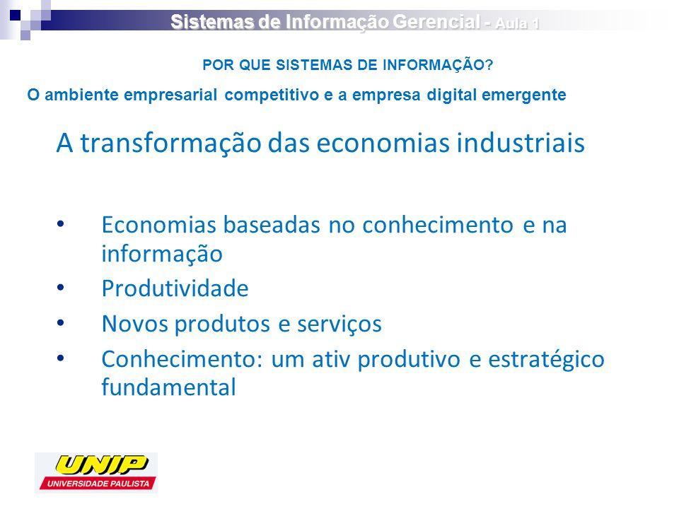 A transformação das economias industriais Economias baseadas no conhecimento e na informação Produtividade Novos produtos e serviços Conhecimento: um ativ produtivo e estratégico fundamental POR QUE SISTEMAS DE INFORMAÇÃO.