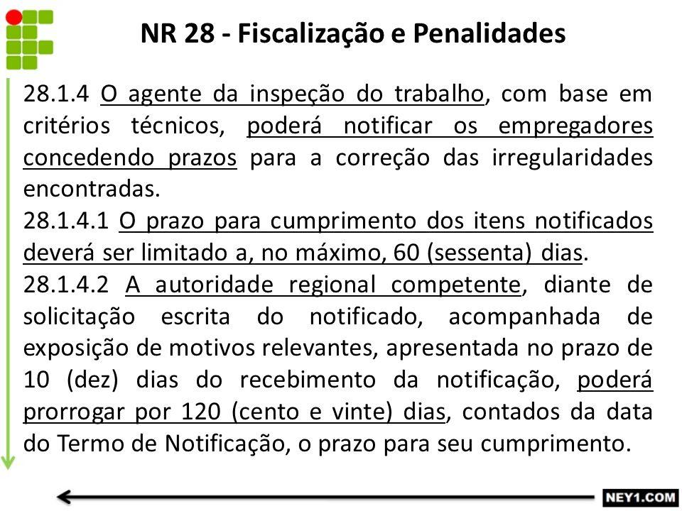NR 28 - Fiscalização e Penalidades 28.1.4 O agente da inspeção do trabalho, com base em critérios técnicos, poderá notificar os empregadores concedendo prazos para a correção das irregularidades encontradas.