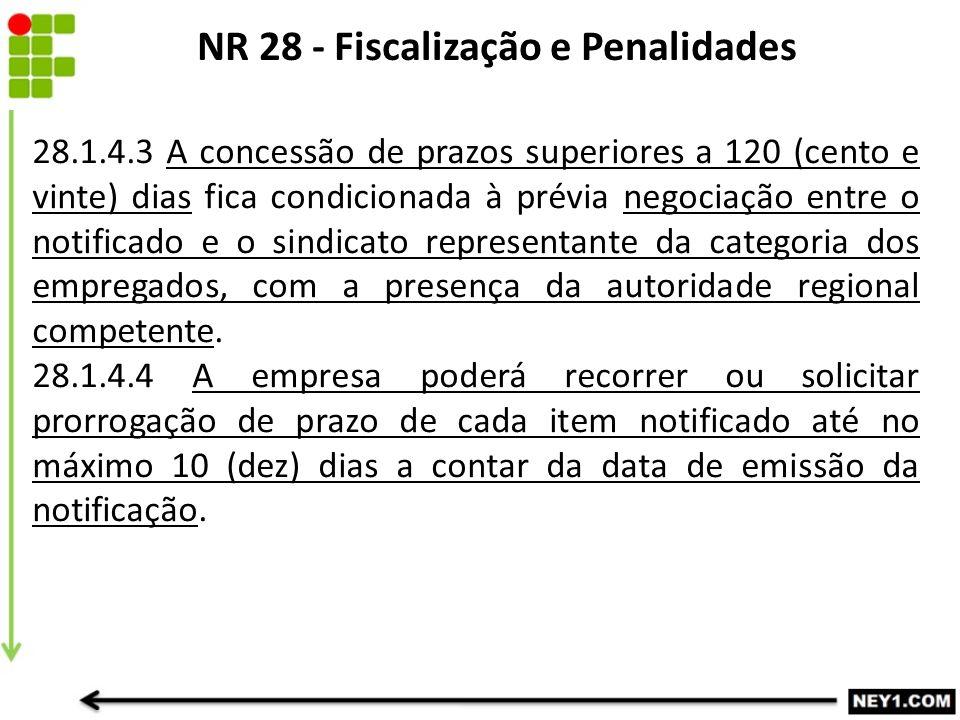 NR 28 - Fiscalização e Penalidades 28.1.4.3 A concessão de prazos superiores a 120 (cento e vinte) dias fica condicionada à prévia negociação entre o notificado e o sindicato representante da categoria dos empregados, com a presença da autoridade regional competente.