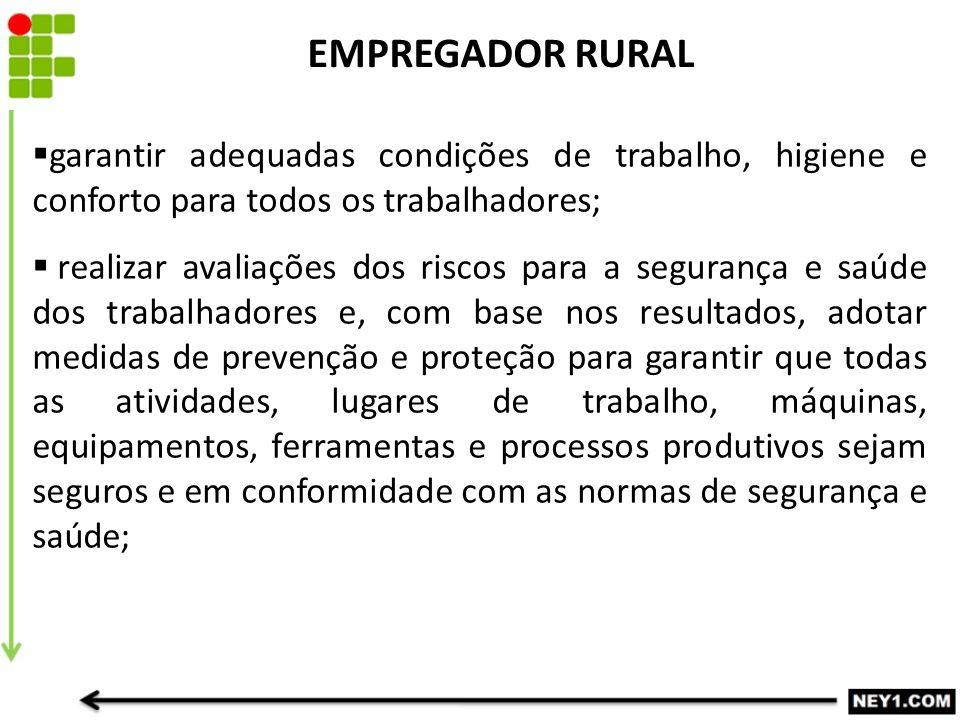 EMPREGADOR RURAL  garantir adequadas condições de trabalho, higiene e conforto para todos os trabalhadores;  realizar avaliações dos riscos para a s
