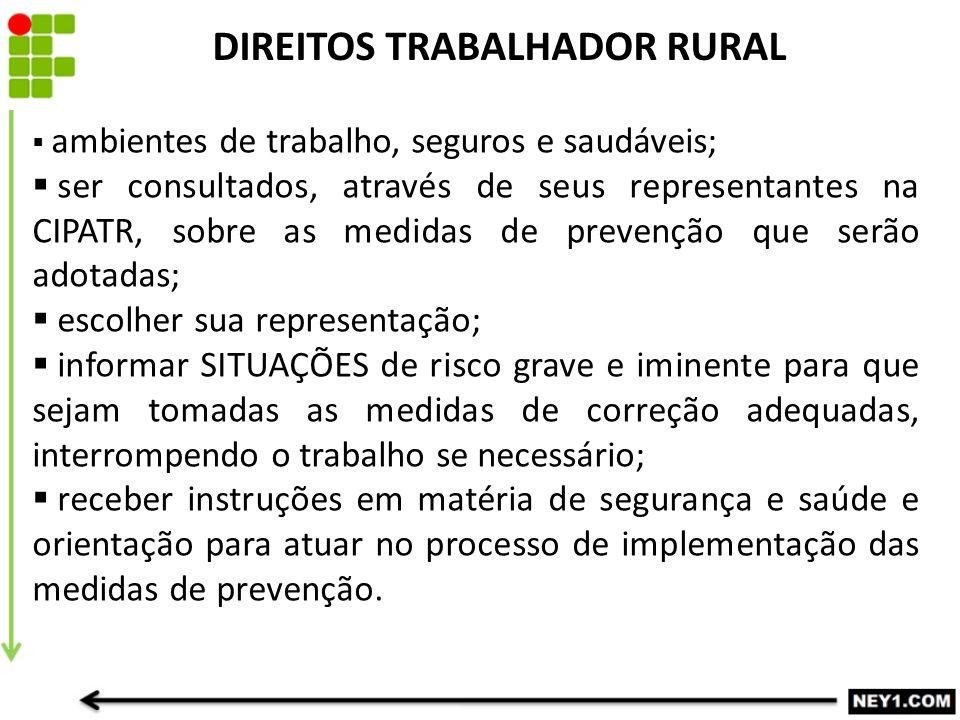 DIREITOS TRABALHADOR RURAL  ambientes de trabalho, seguros e saudáveis;  ser consultados, através de seus representantes na CIPATR, sobre as medidas