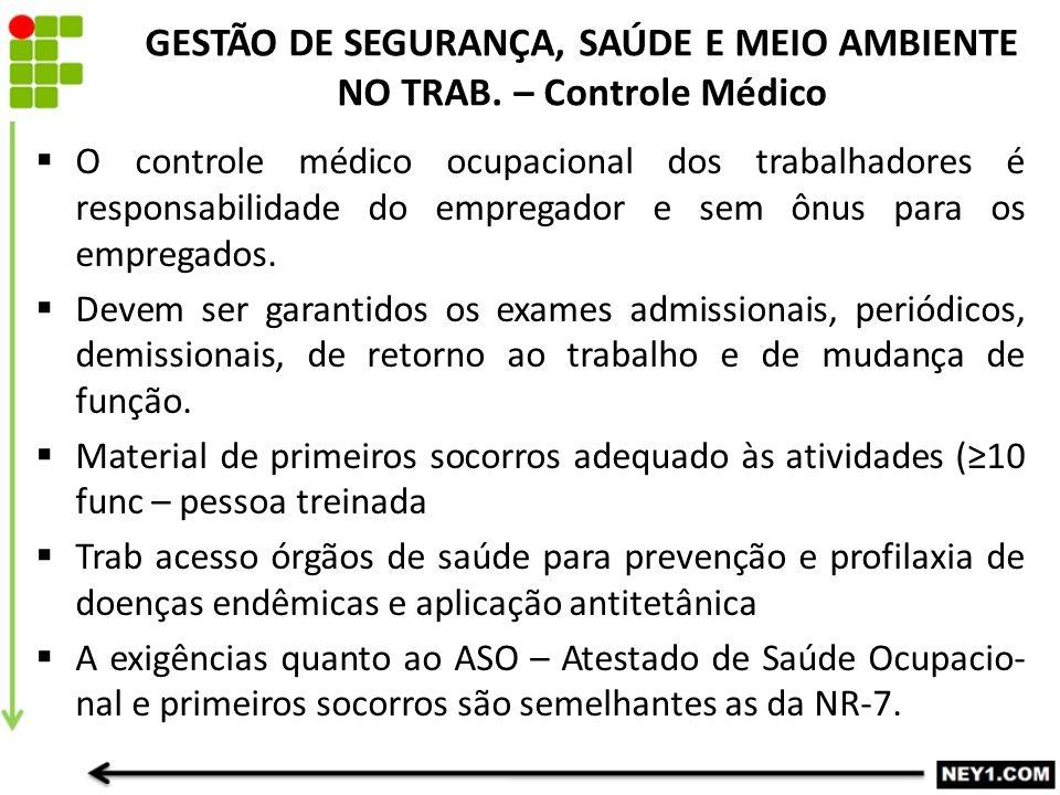 GESTÃO DE SEGURANÇA, SAÚDE E MEIO AMBIENTE NO TRAB.