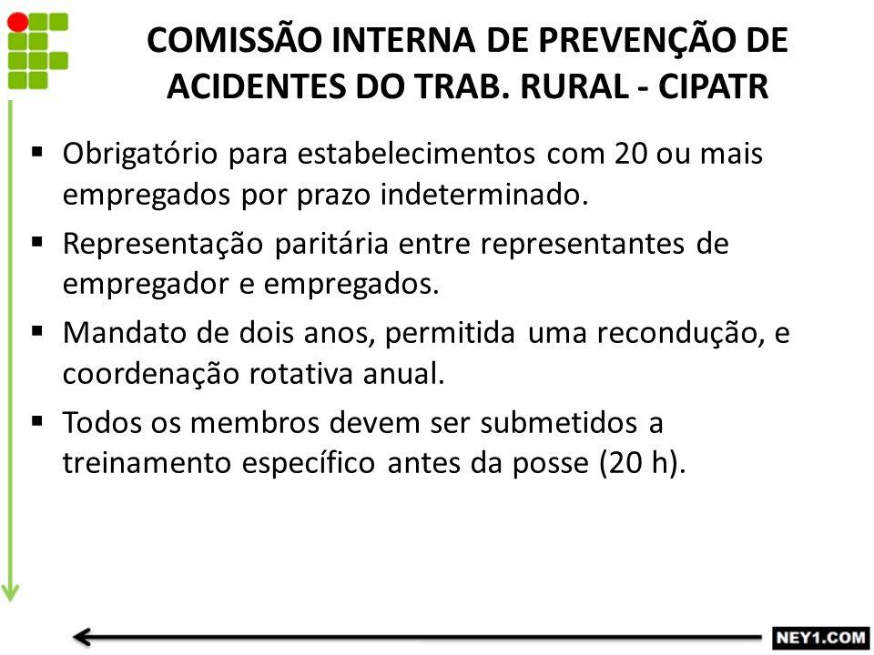 COMISSÃO INTERNA DE PREVENÇÃO DE ACIDENTES DO TRAB. RURAL - CIPATR  Obrigatório para estabelecimentos com 20 ou mais empregados por prazo indetermina