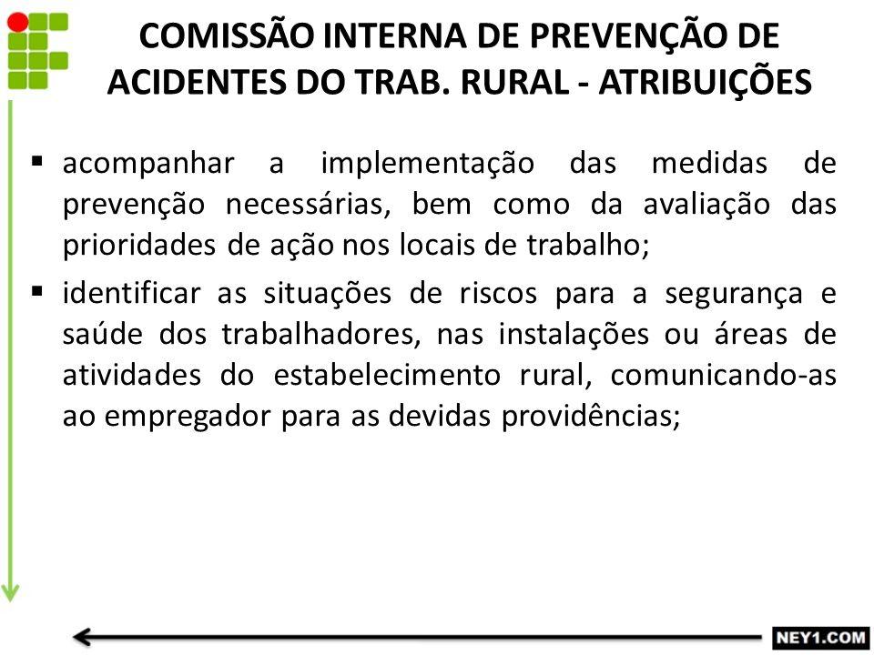 COMISSÃO INTERNA DE PREVENÇÃO DE ACIDENTES DO TRAB. RURAL - ATRIBUIÇÕES  acompanhar a implementação das medidas de prevenção necessárias, bem como da