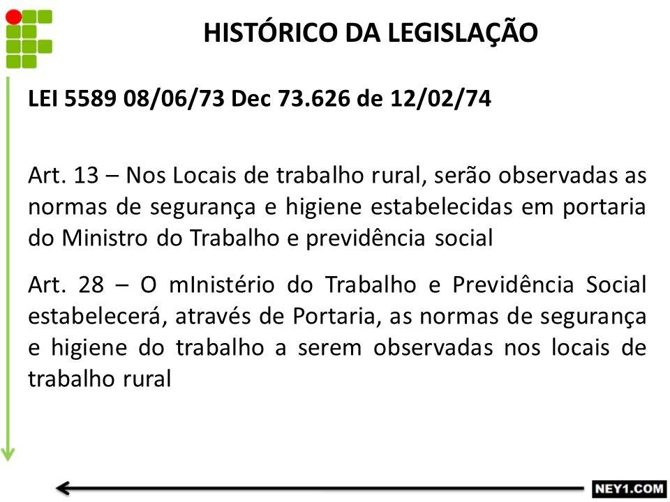 HISTÓRICO DA LEGISLAÇÃO LEI 5589 08/06/73 Dec 73.626 de 12/02/74 Art. 13 – Nos Locais de trabalho rural, serão observadas as normas de segurança e hig
