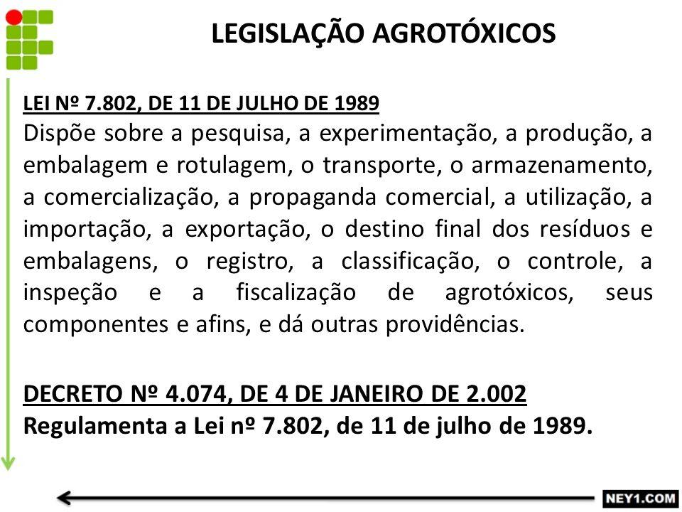 LEI Nº 7.802, DE 11 DE JULHO DE 1989 Dispõe sobre a pesquisa, a experimentação, a produção, a embalagem e rotulagem, o transporte, o armazenamento, a